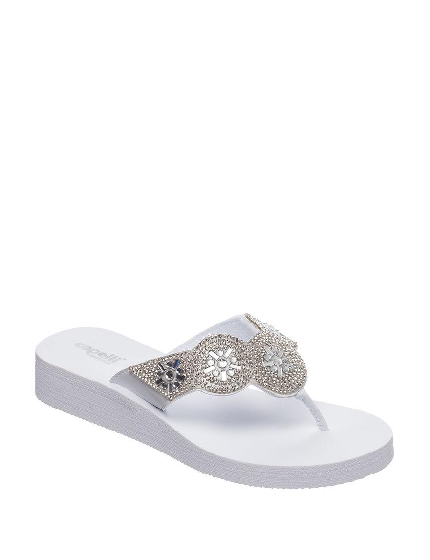 Capelli White Flip Flops Wedge Sandals