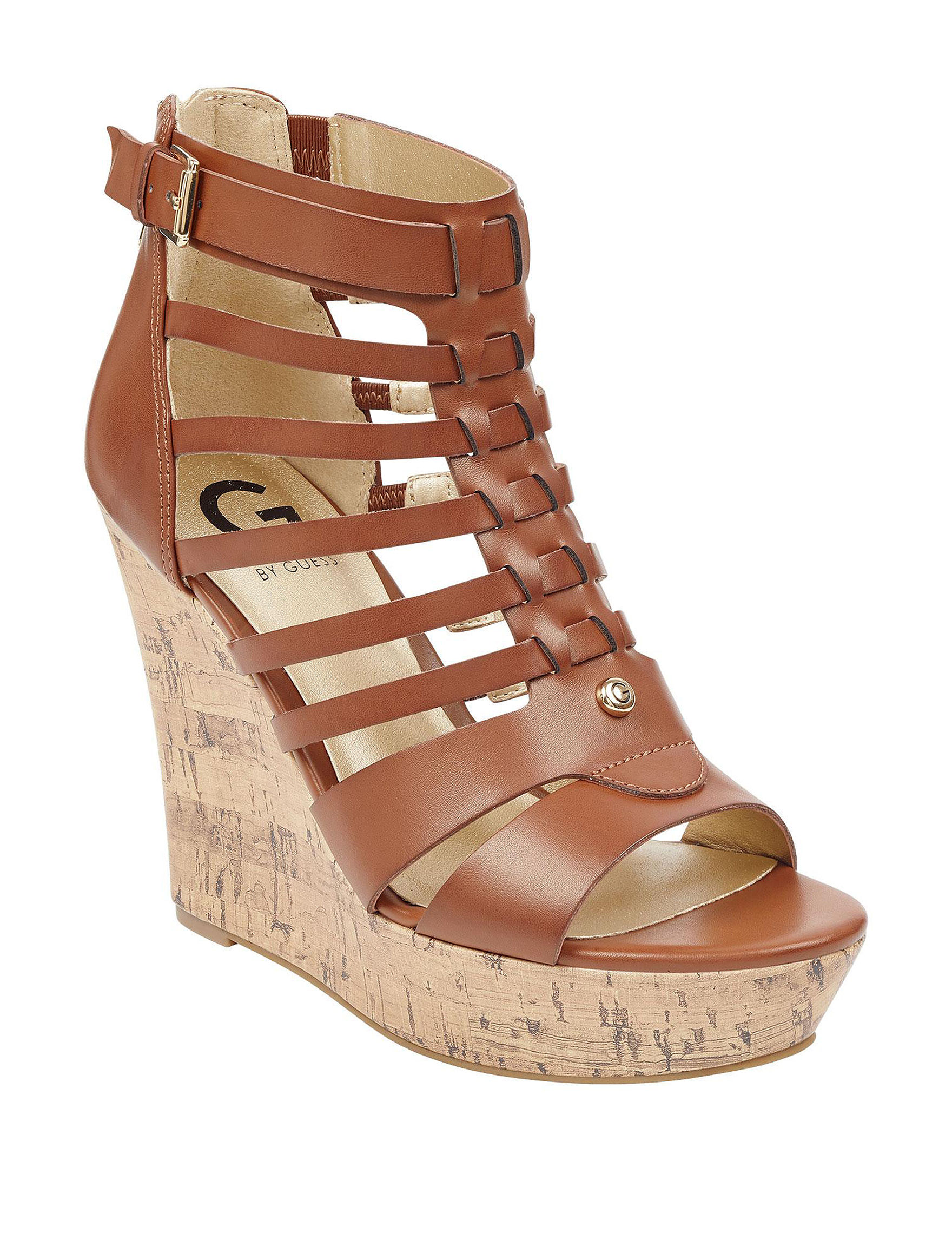 G by Guess Brown Platform Wedge Sandals