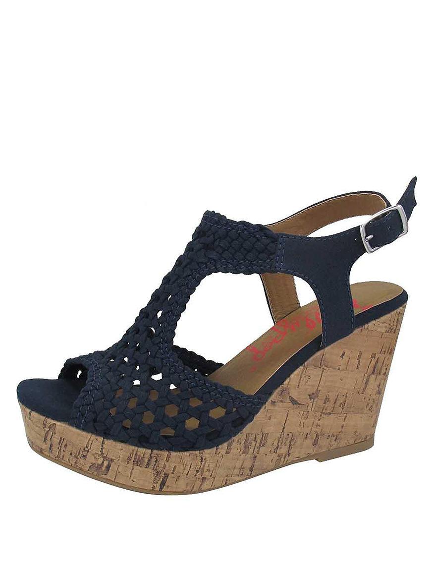 Jellypop Navy Wedge Sandals