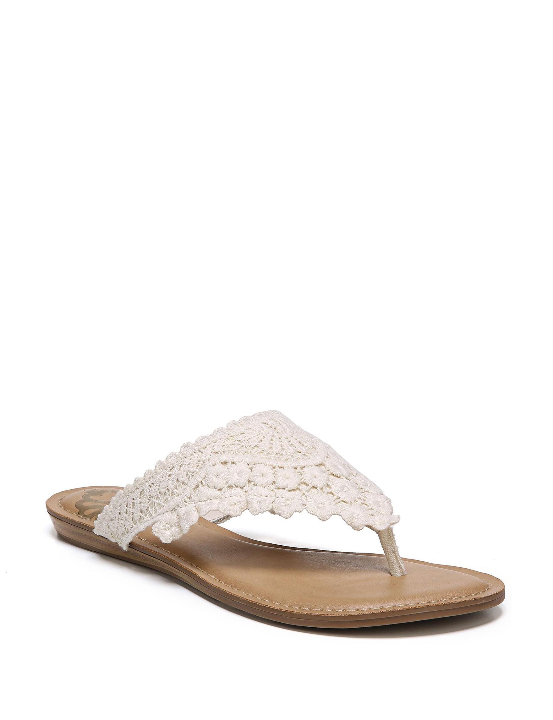 Fergalicious by Fergie Cream Flat Sandals Flip Flops