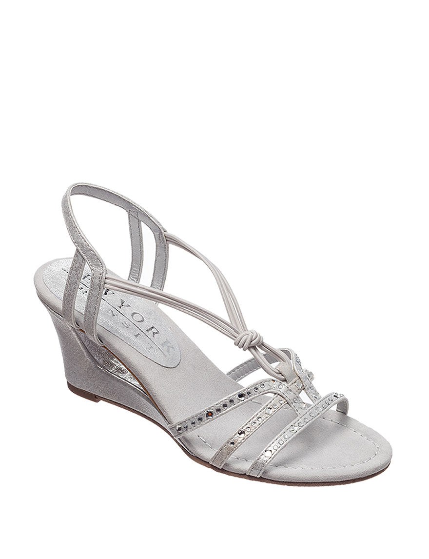 New York Transit Silver Wedge Pumps Wedge Sandals