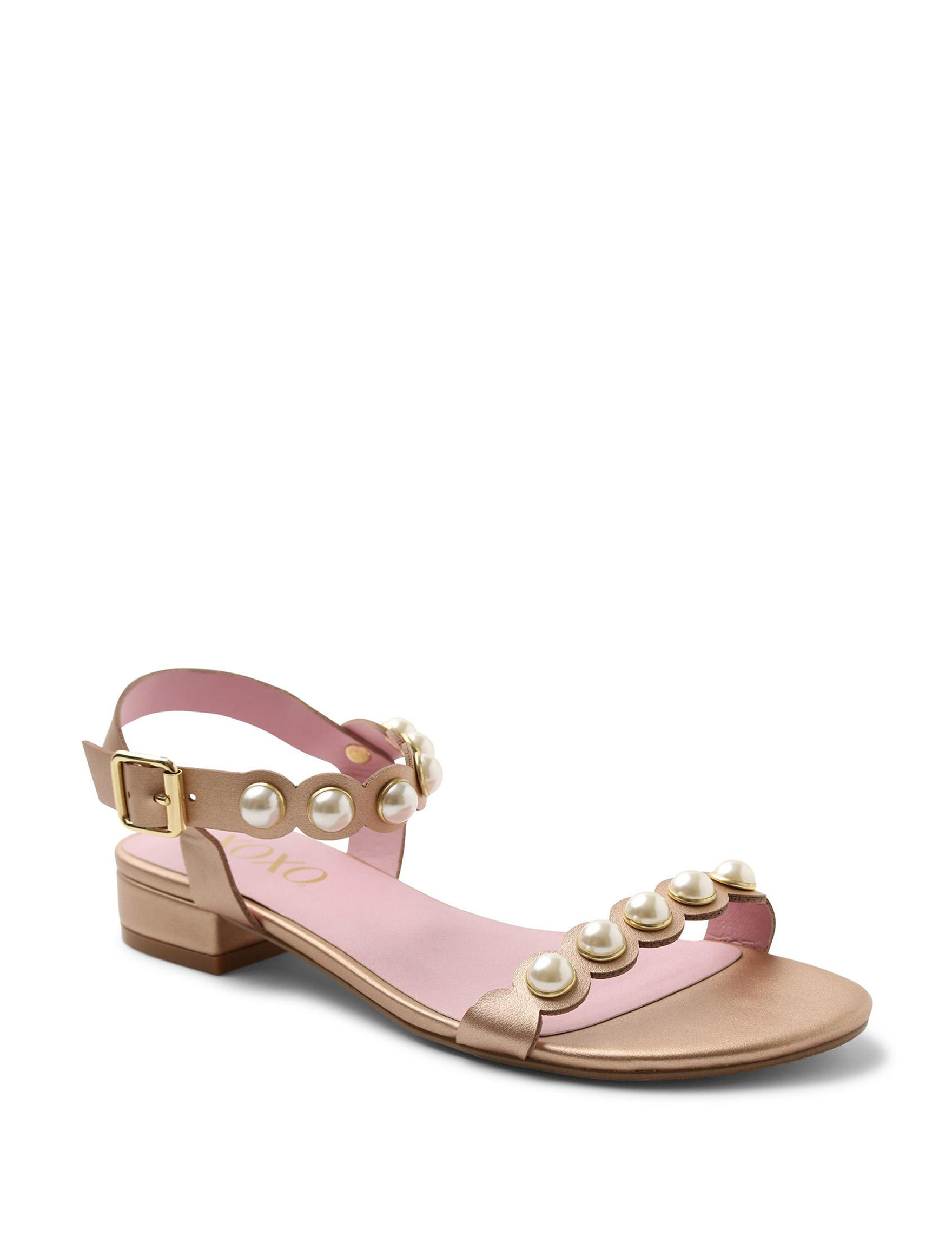 XOXO Rose Gold Flat Sandals