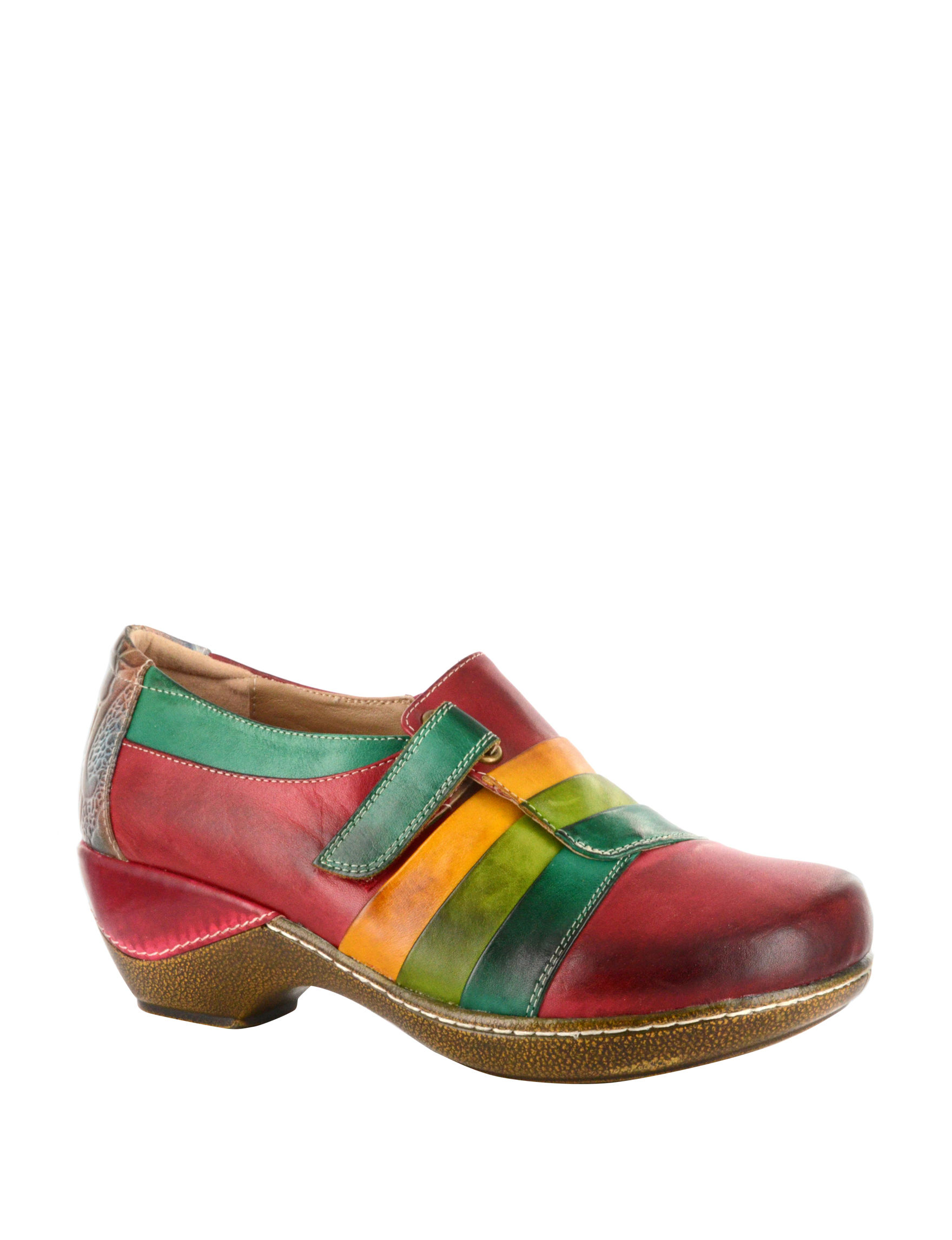 Corkys Green / Red Clogs