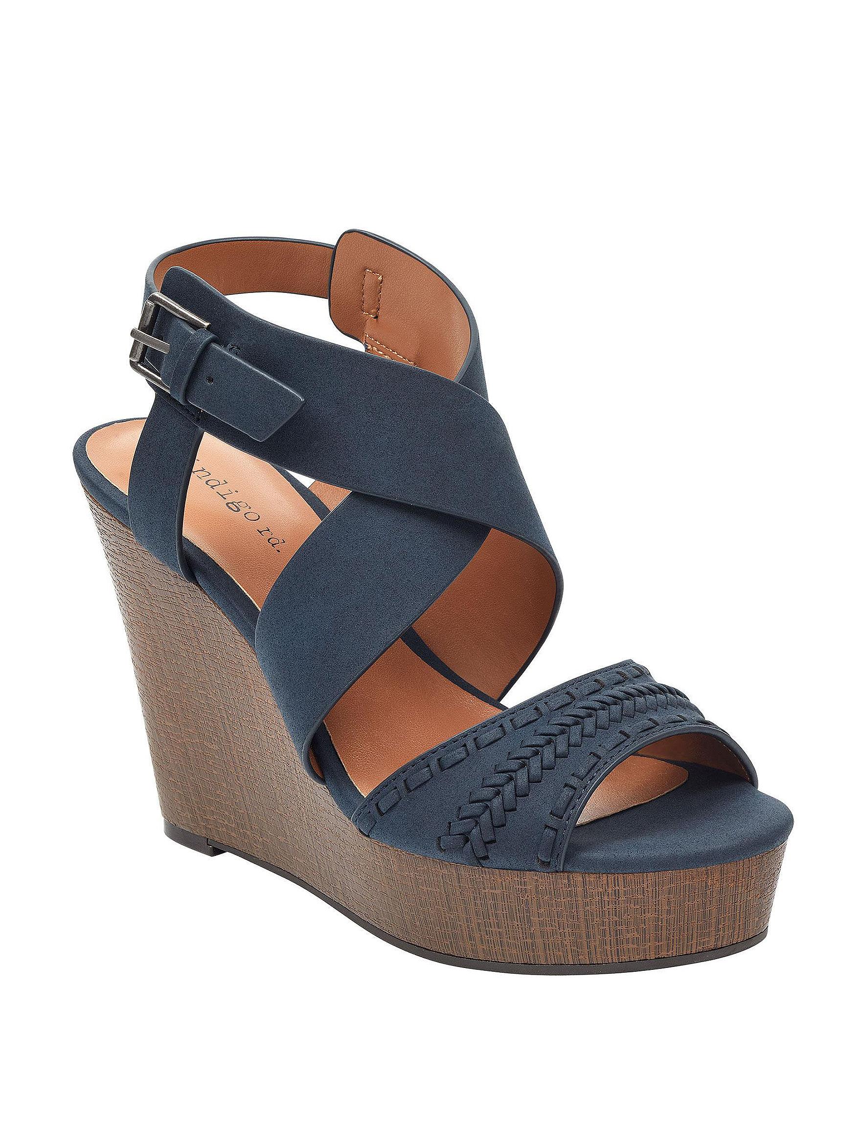 Indigo Rd. Navy Platform Wedge Sandals