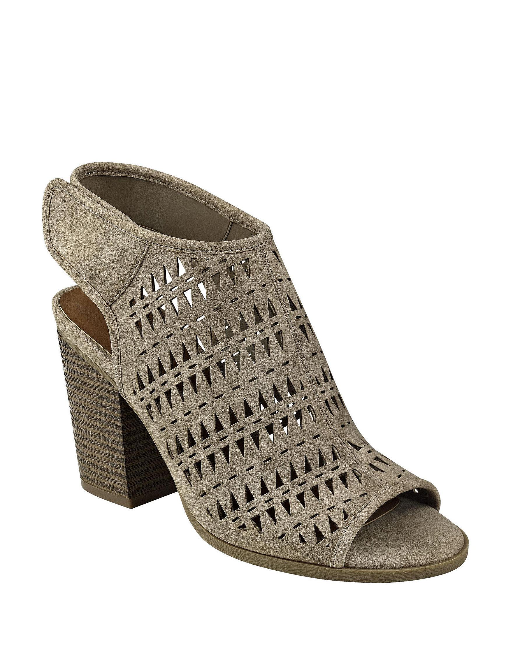 Indigo Rd. Taupe Heeled Sandals Peep Toe
