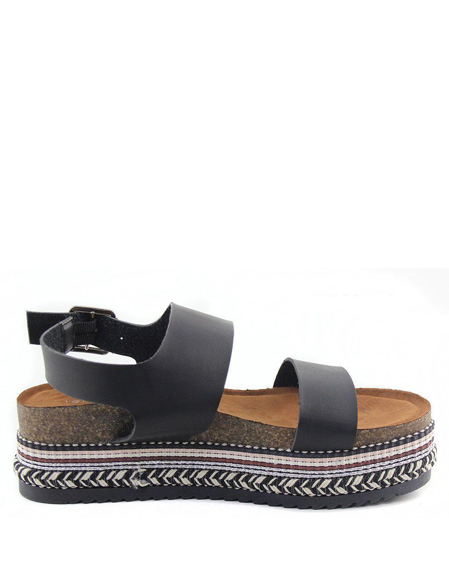 London Rag Black Espadrille Flat Sandals Platform