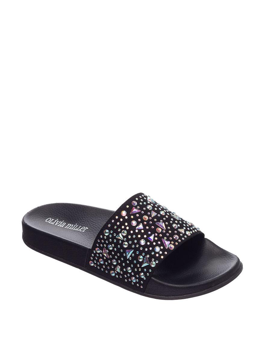 Olivia Miller Black Flat Sandals Slide Sandals