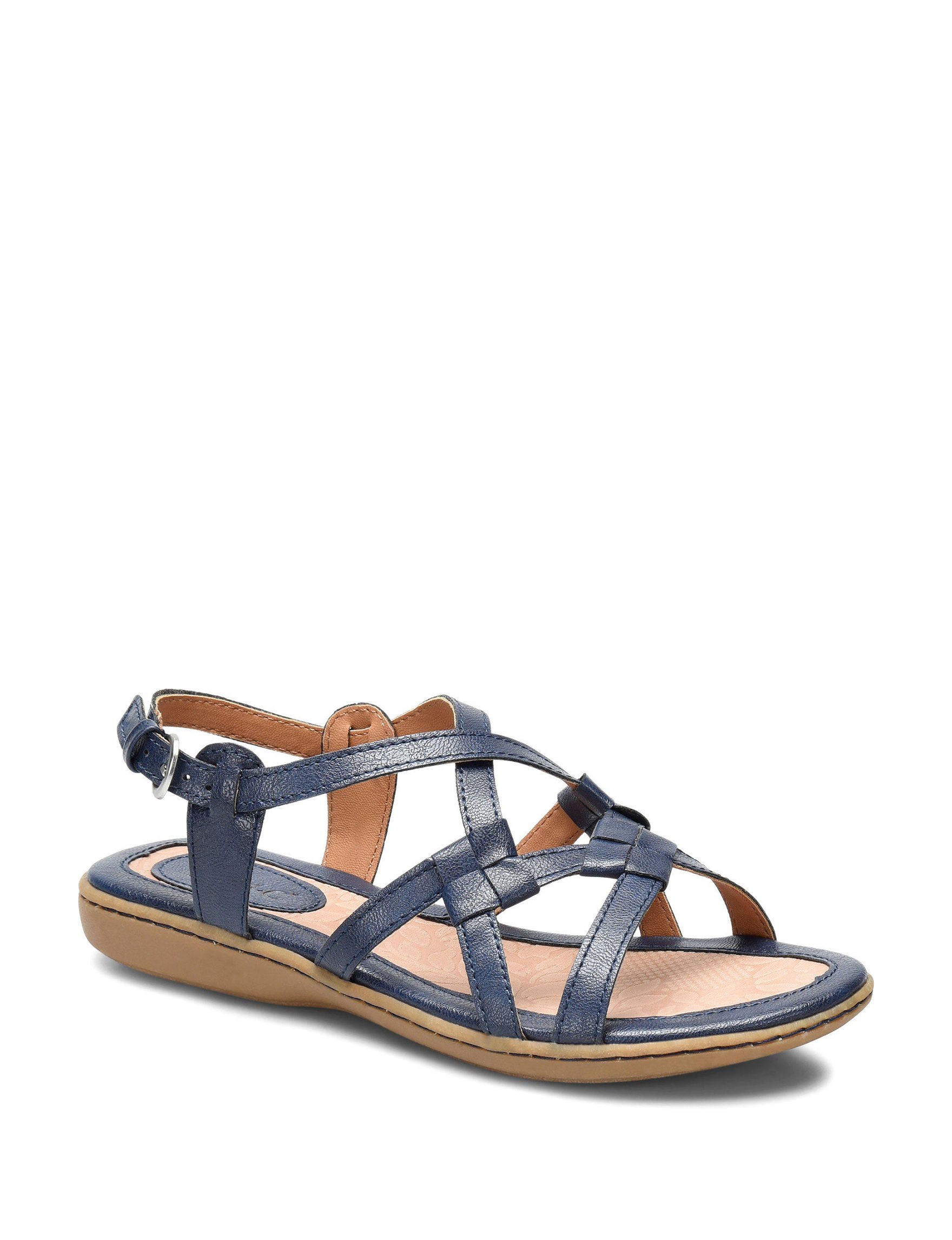 B.O.C. Navy Flat Sandals Comfort