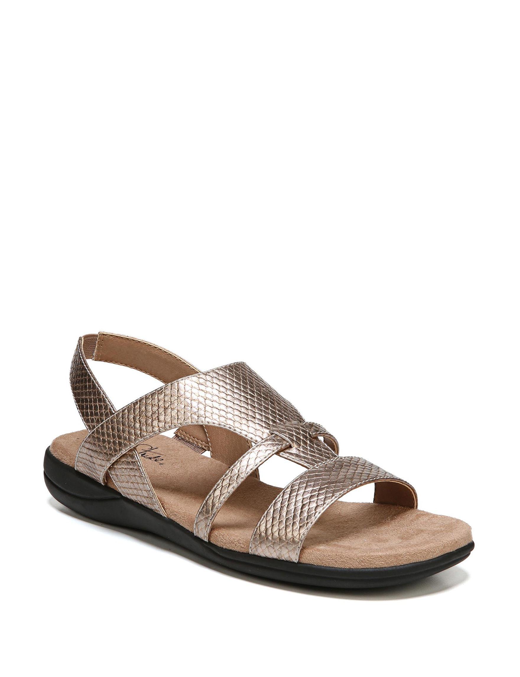 Lifestride Gold Flat Sandals Footbed