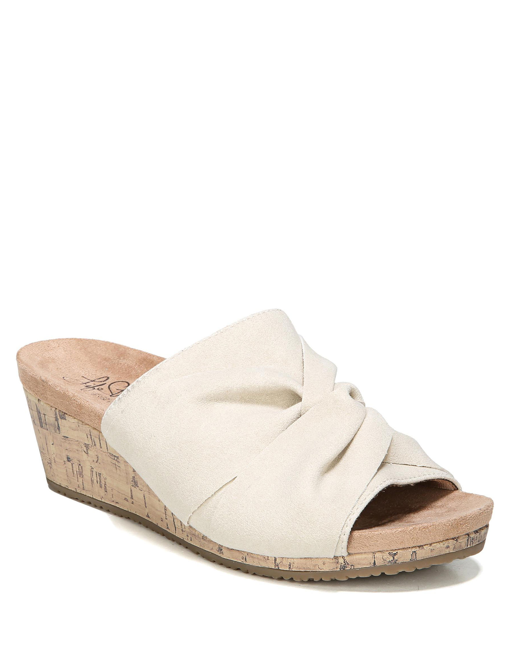 Lifestride Bone Peep Toe Wedge Sandals Comfort