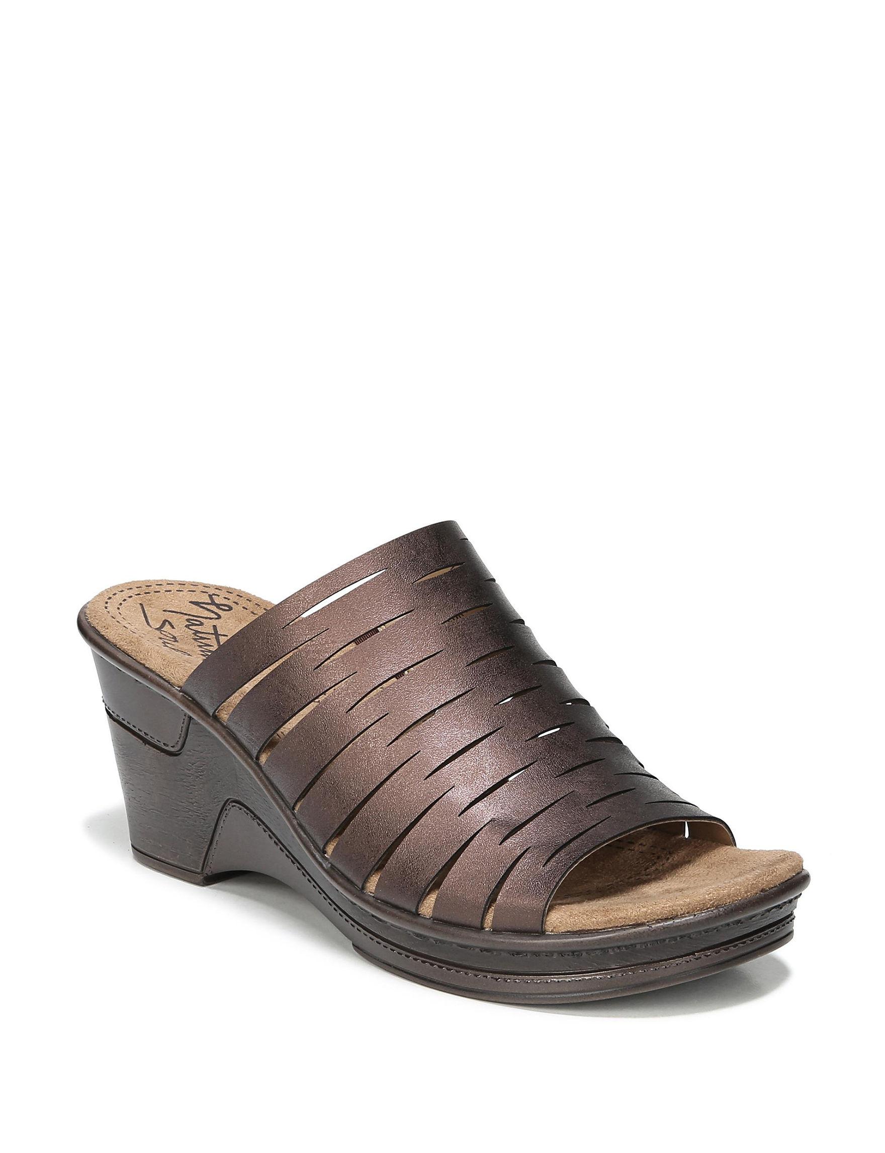Natural Soul Bronze Wedge Sandals Comfort