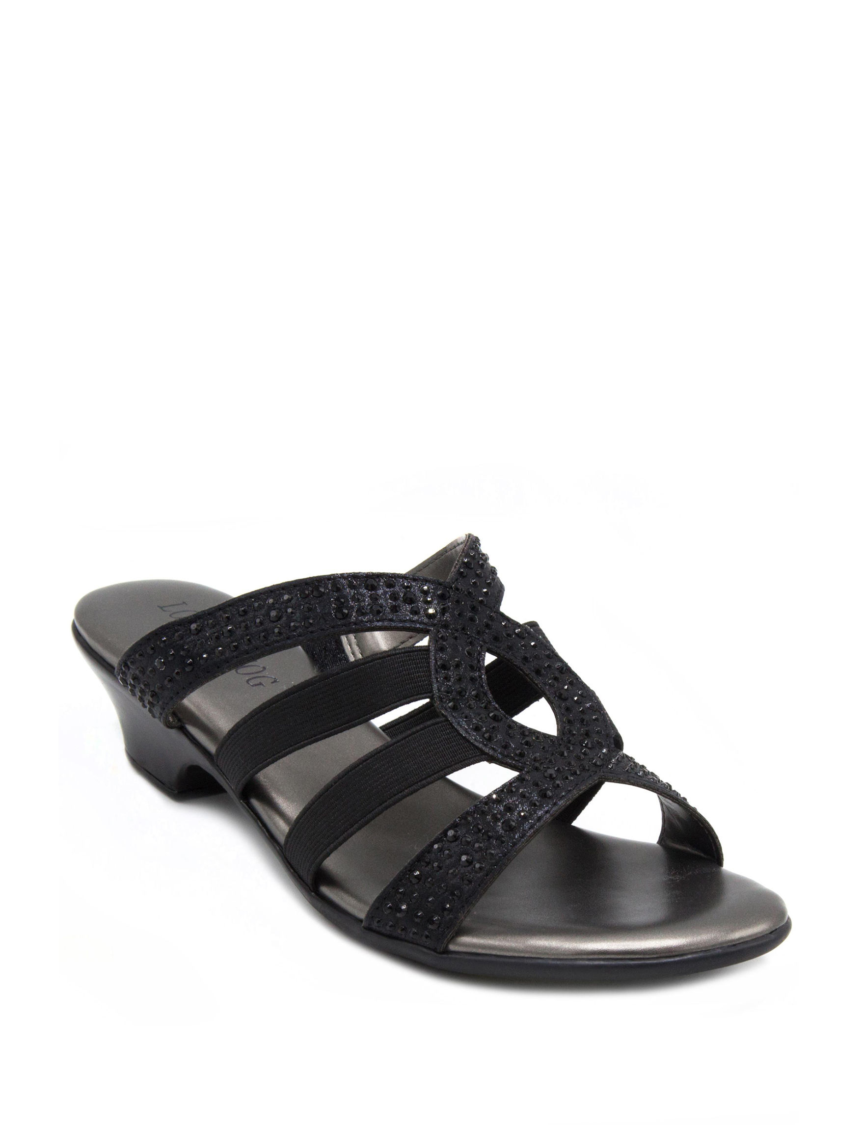 London Fog Black Heeled Sandals