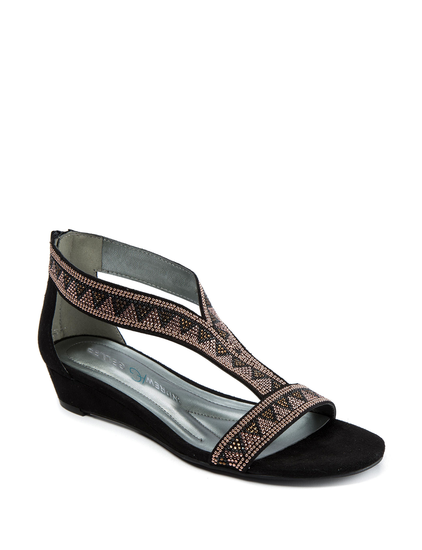 Andrew Geller Black Wedge Sandals Comfort
