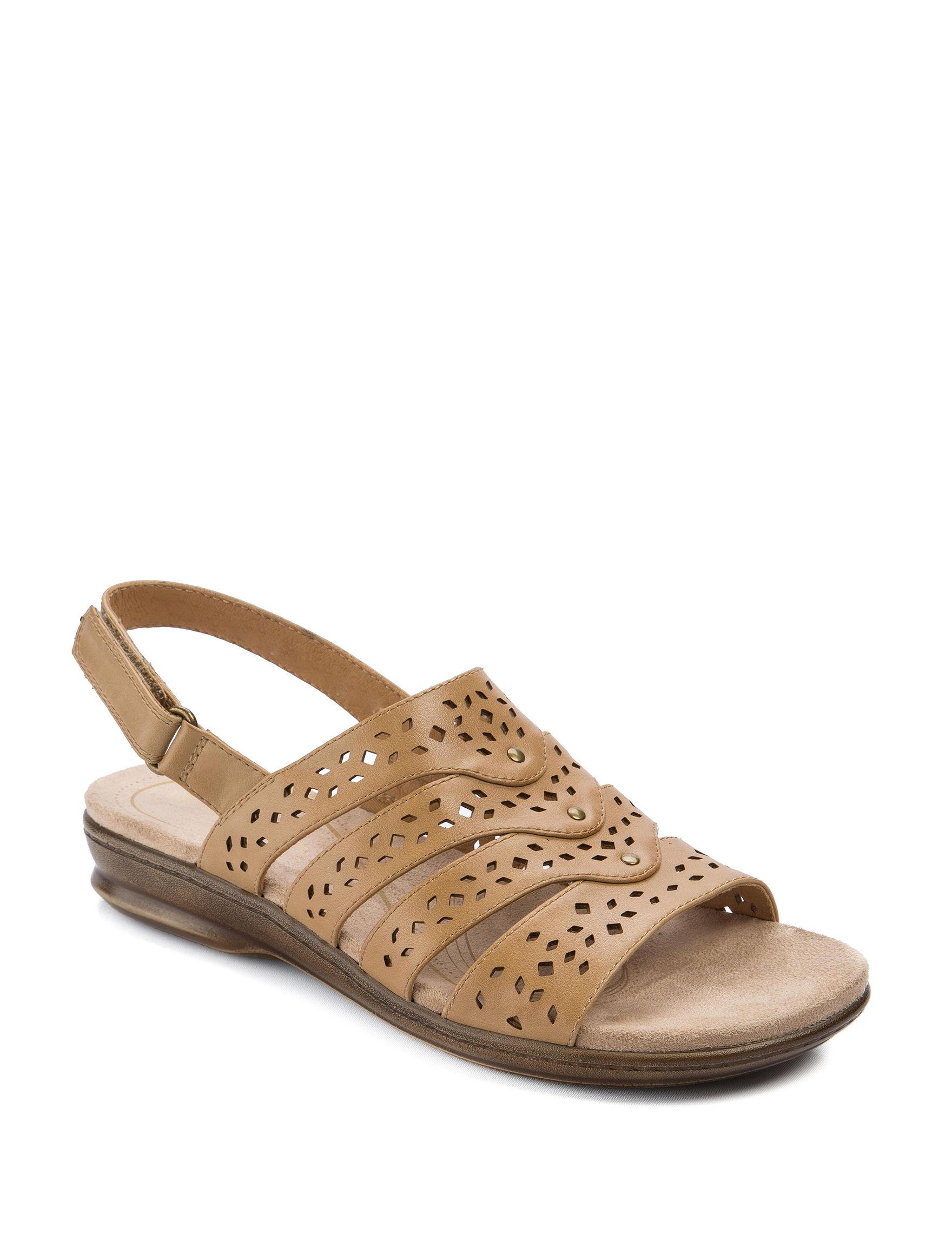 Wear. Ever. Tan Flat Sandals Footbed Comfort