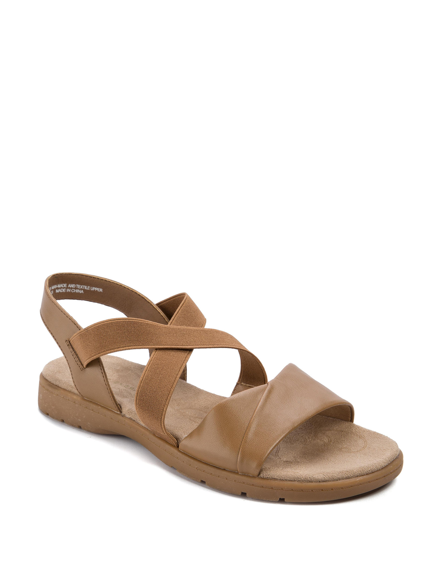 Wear. Ever. Tan Flat Sandals Footbed