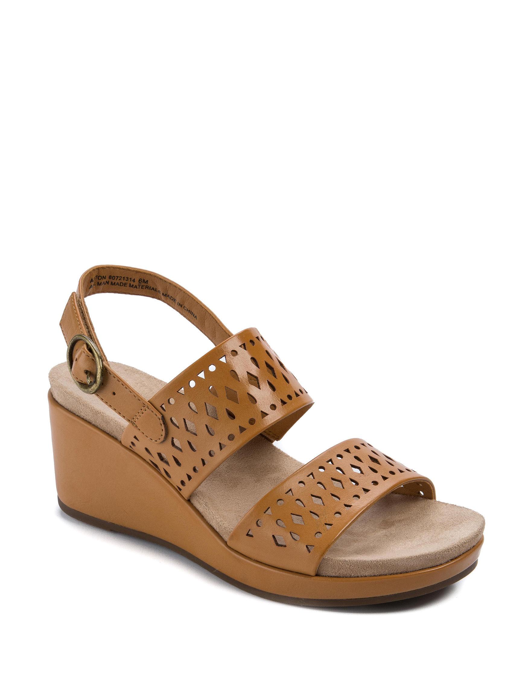 Wear. Ever. Brown Wedge Sandals