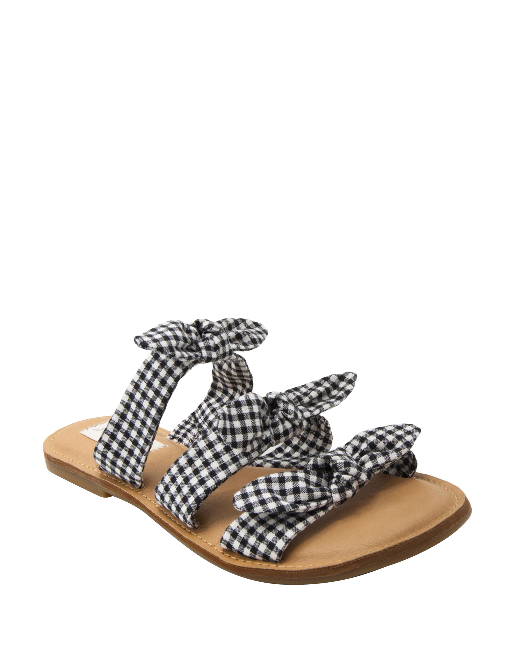 Sugar Black /  White Flat Sandals