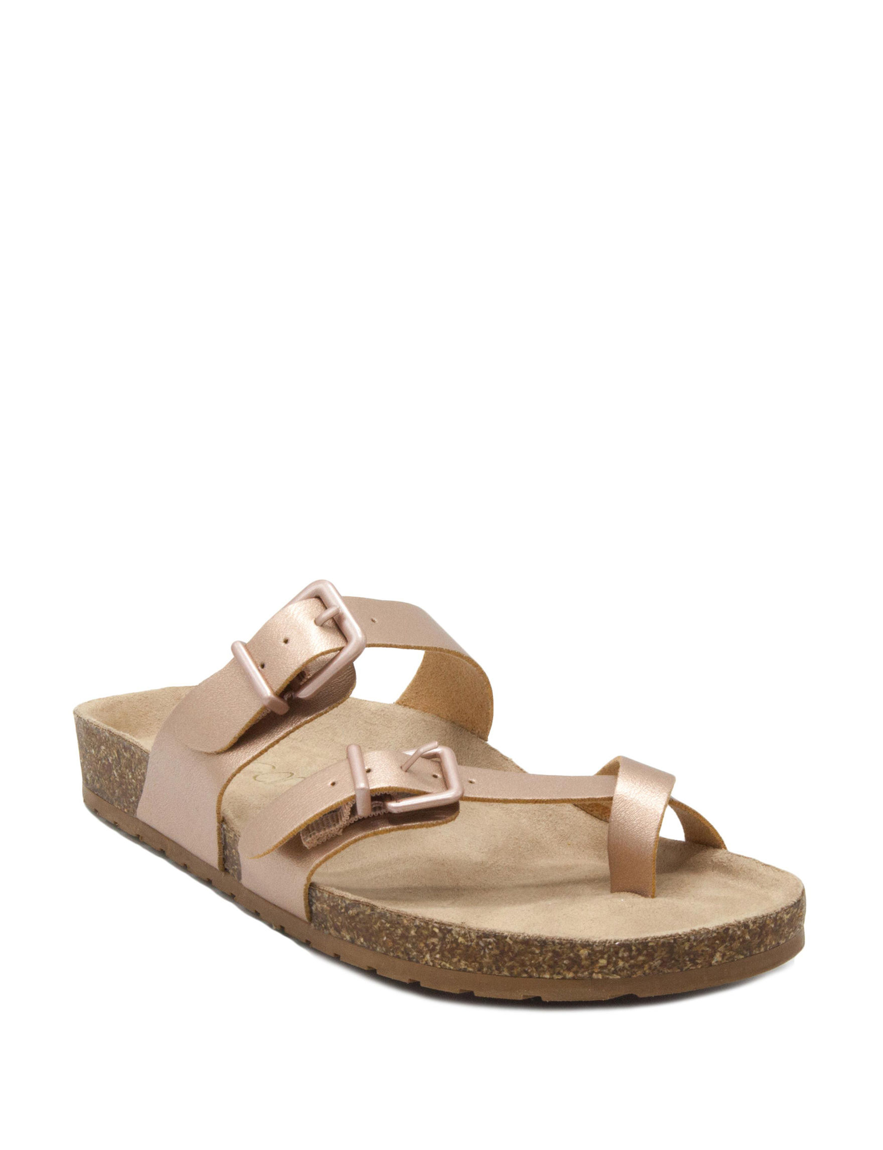 Sugar Rose Gold Flat Sandals Slide Sandals