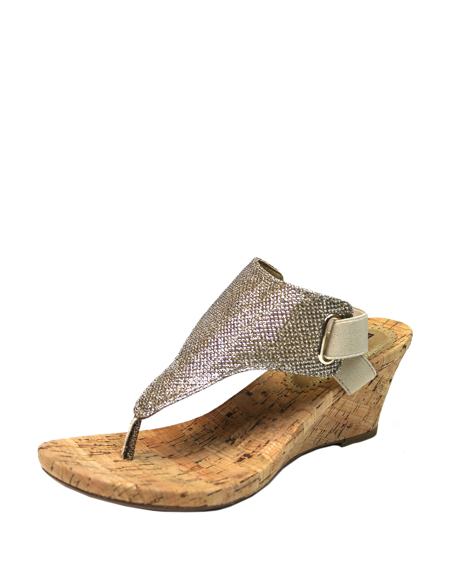 White Mountain Gold Wedge Sandals