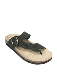White Mountain Black Flat Sandals Footbed Slide Sandals