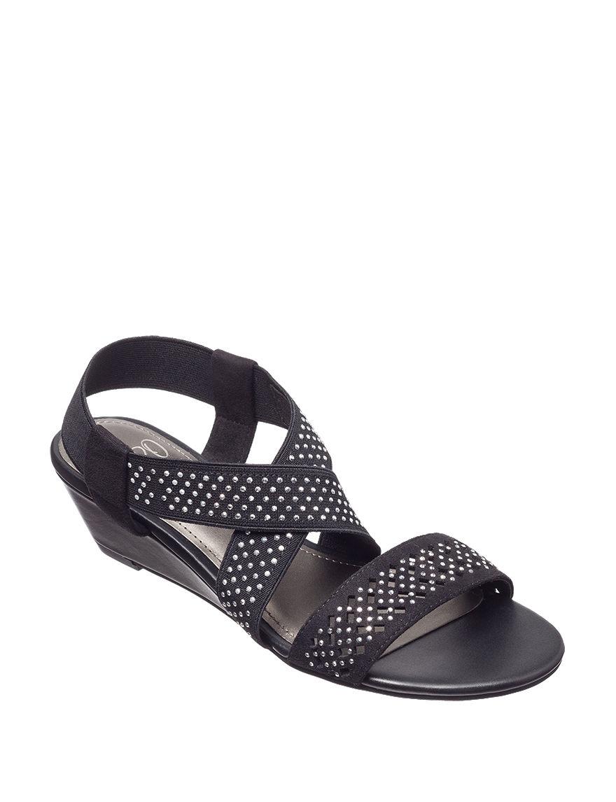 IMPO Black Wedge Sandals Comfort