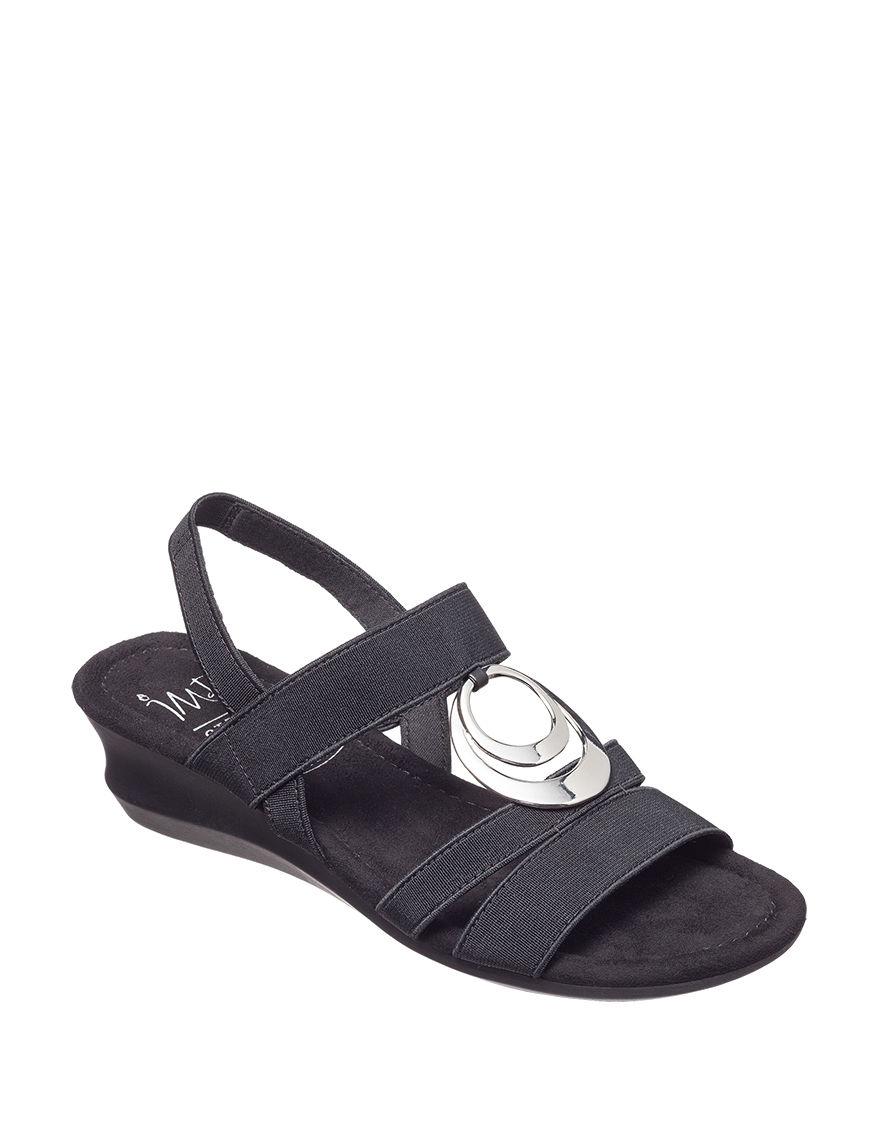 IMPO Black Wedge Sandals