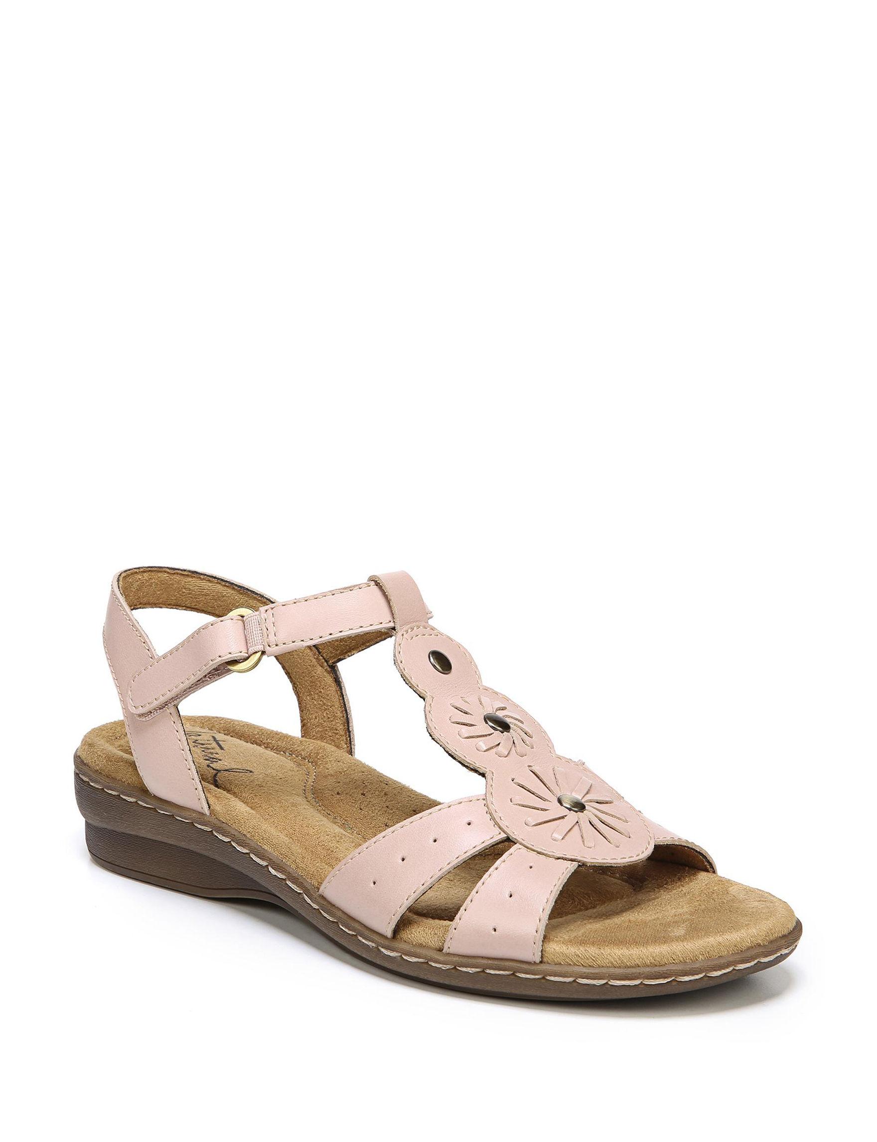 Natural Soul Pink Flat Sandals Comfort