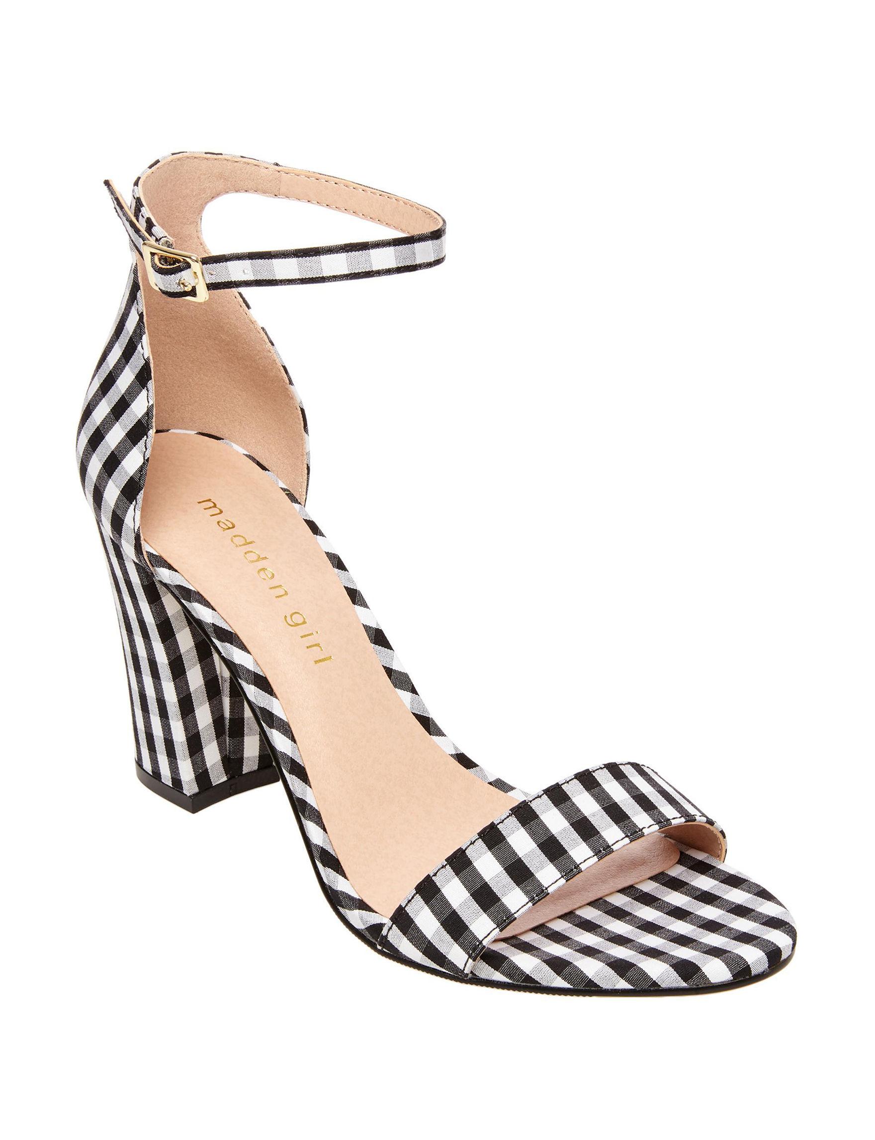 Madden Girl Black /  White Heeled Sandals