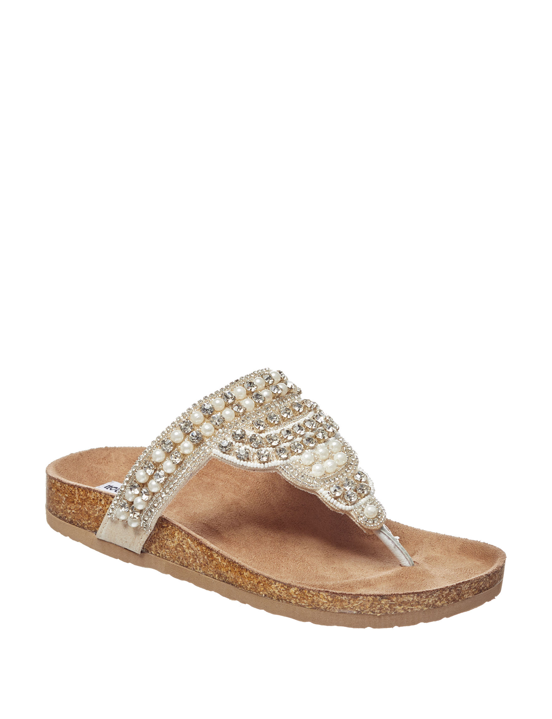 Not Rated White Flat Sandals Flip Flops Slide Sandals