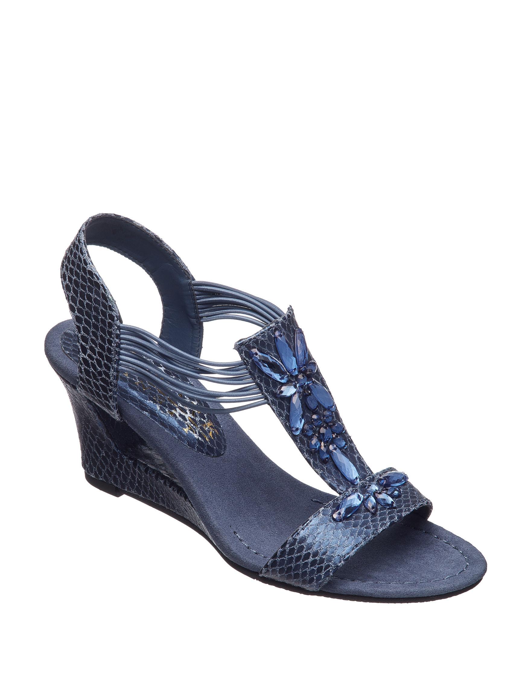New York Transit Blue Wedge Sandals