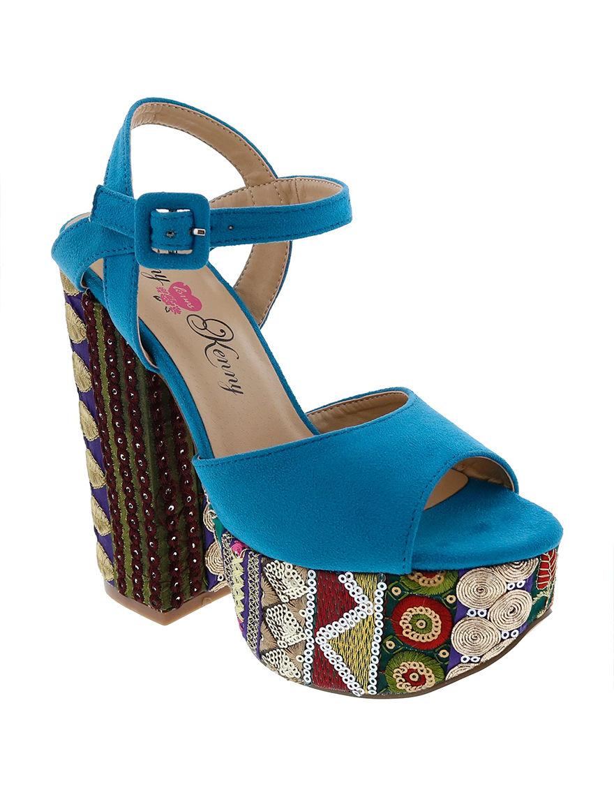 Penny Loves Kenny Blue Heeled Sandals Platform