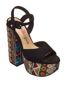 Penny Loves Kenny Black Heeled Sandals Platform
