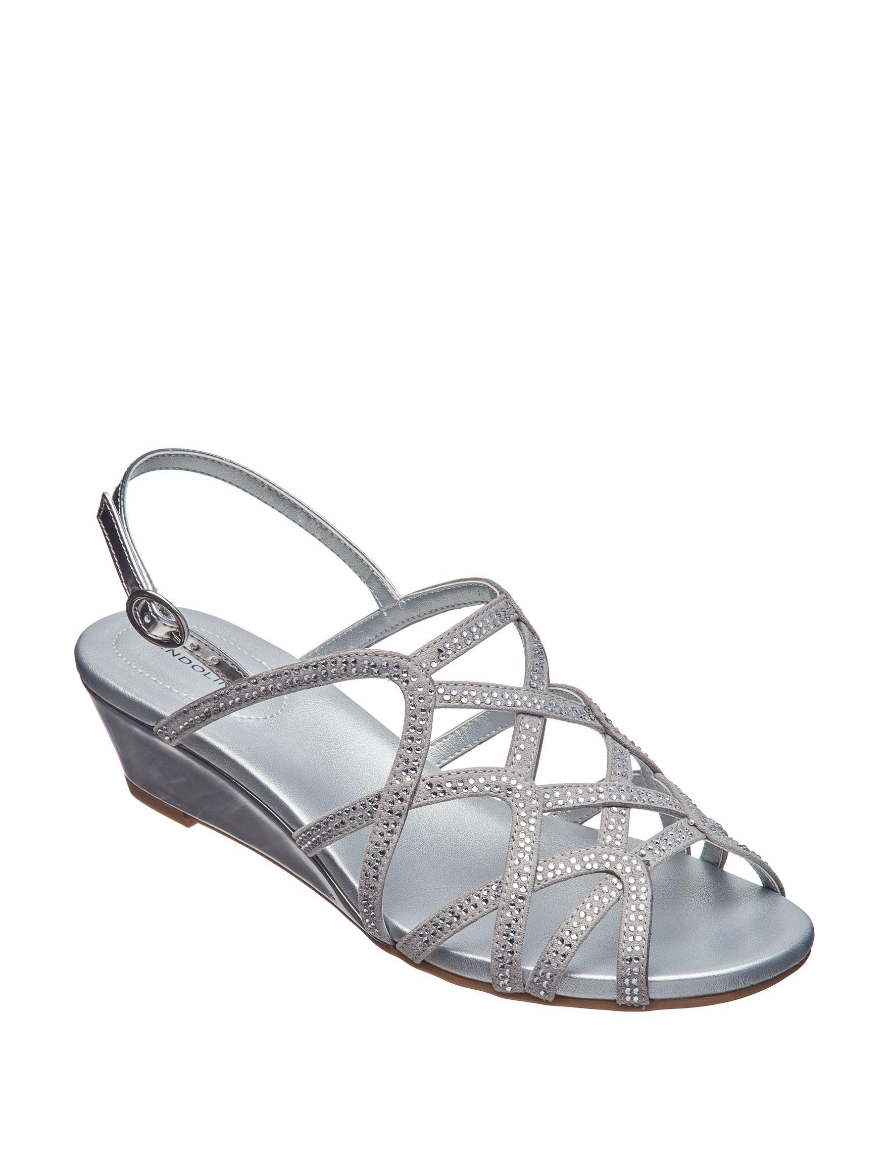 Bandolino Silver Wedge Sandals
