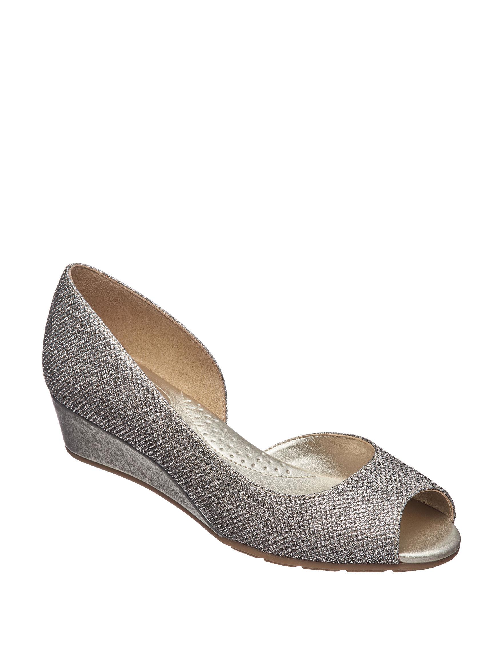 Bandolino Gold Peep Toe Wedge Sandals