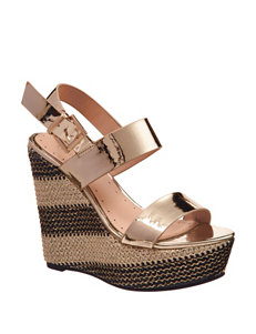 London Rag Gold Wedge Sandals