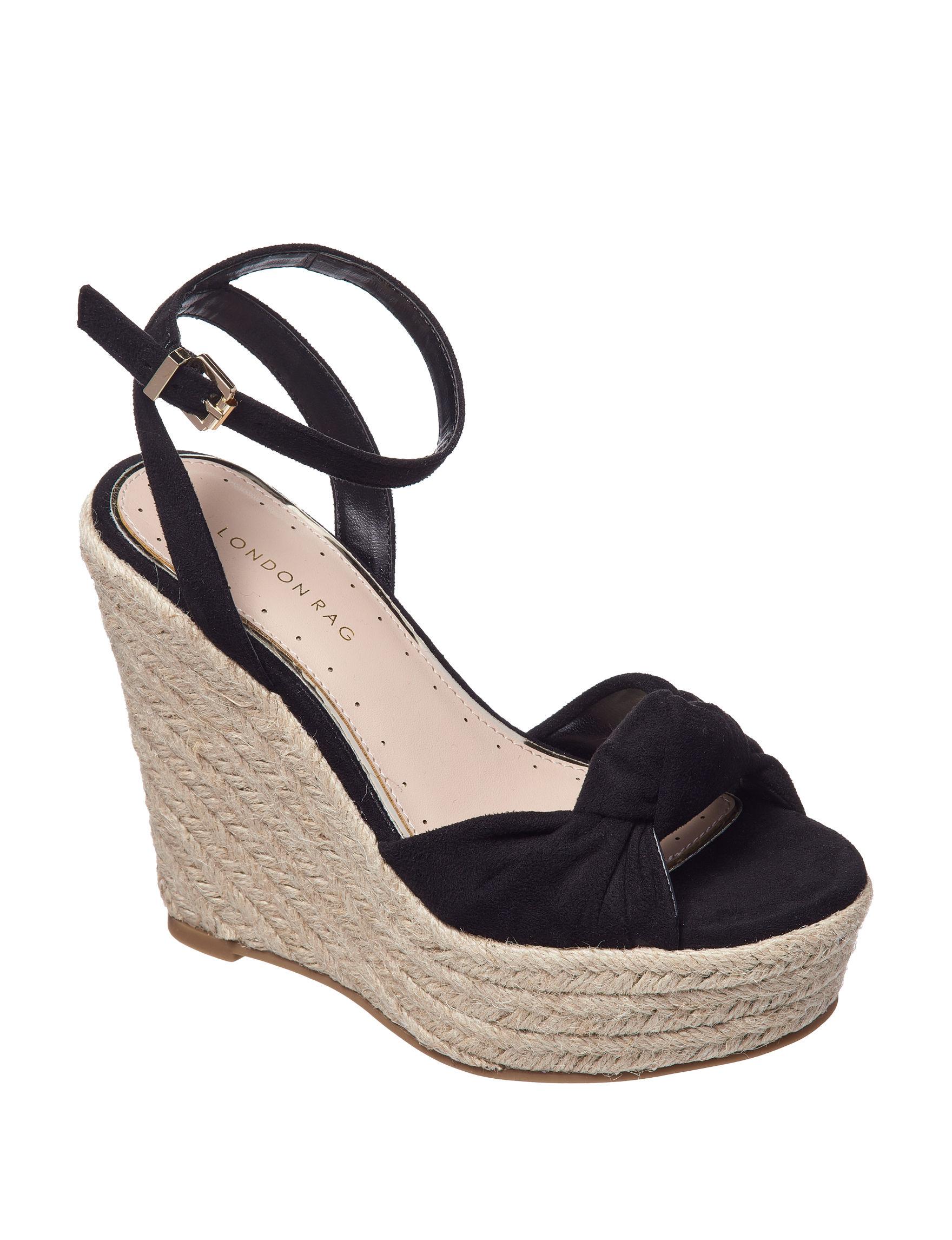 London Rag Black Wedge Sandals