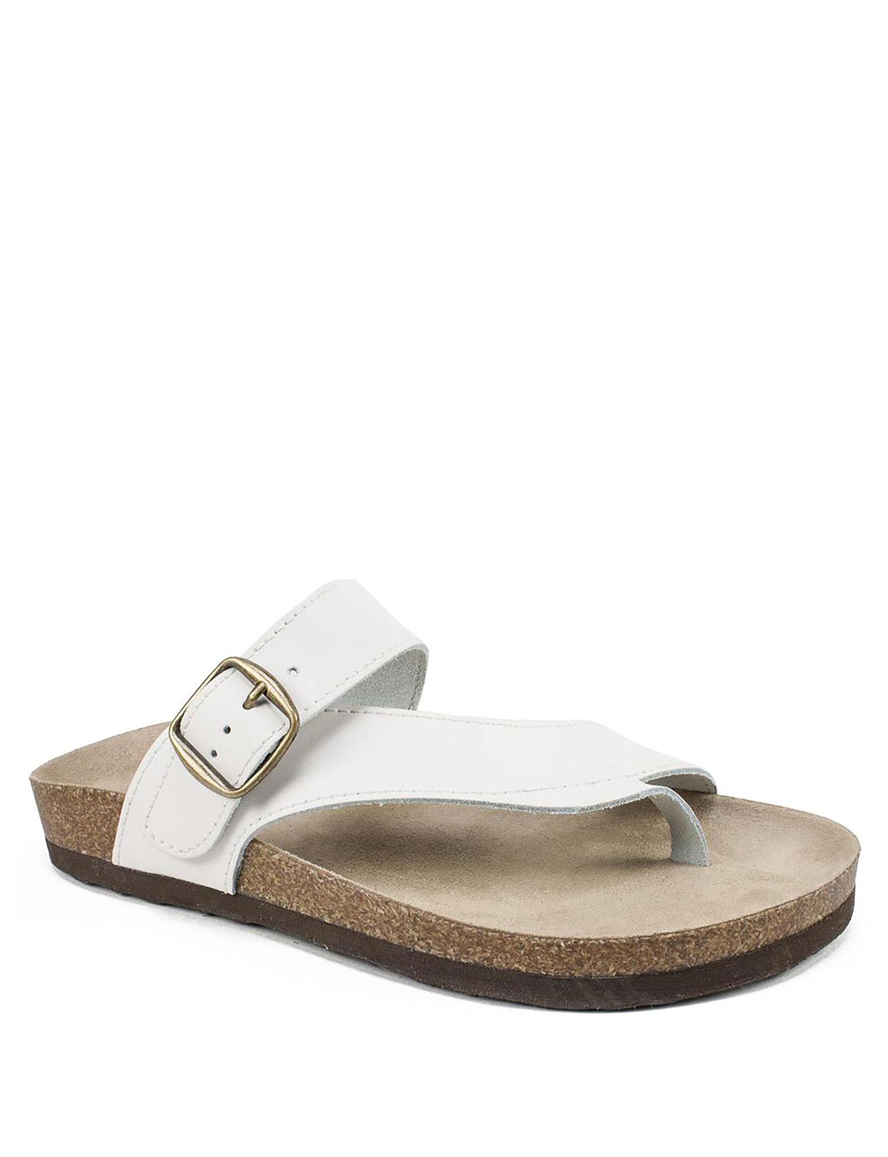 White Mountain White Flat Sandals Comfort