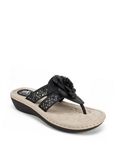 Cliffs Black Wedge Sandals Comfort