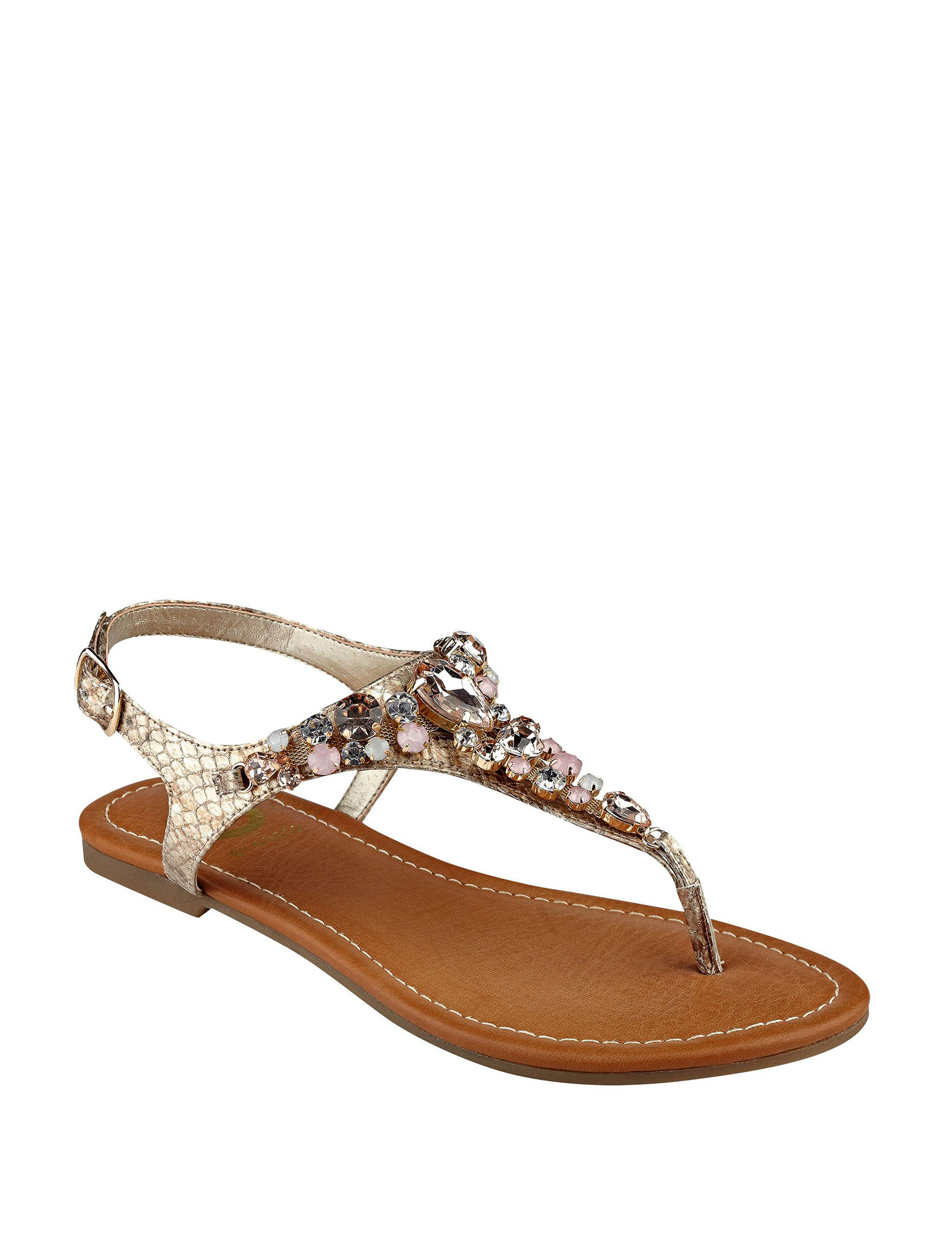G by Guess Gold Flat Sandals
