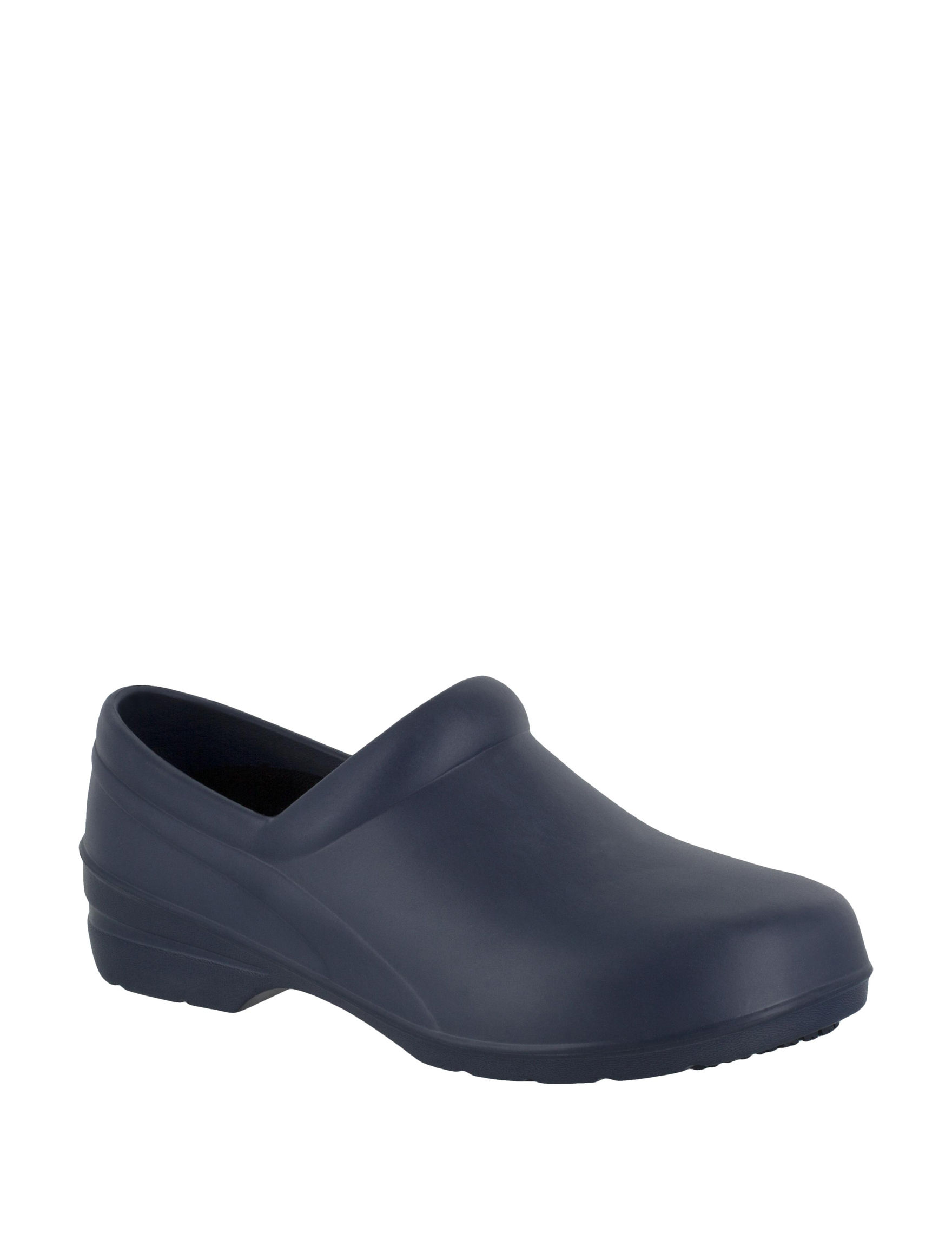 Easy Works by Easy Street Navy Clogs Slip Resistant