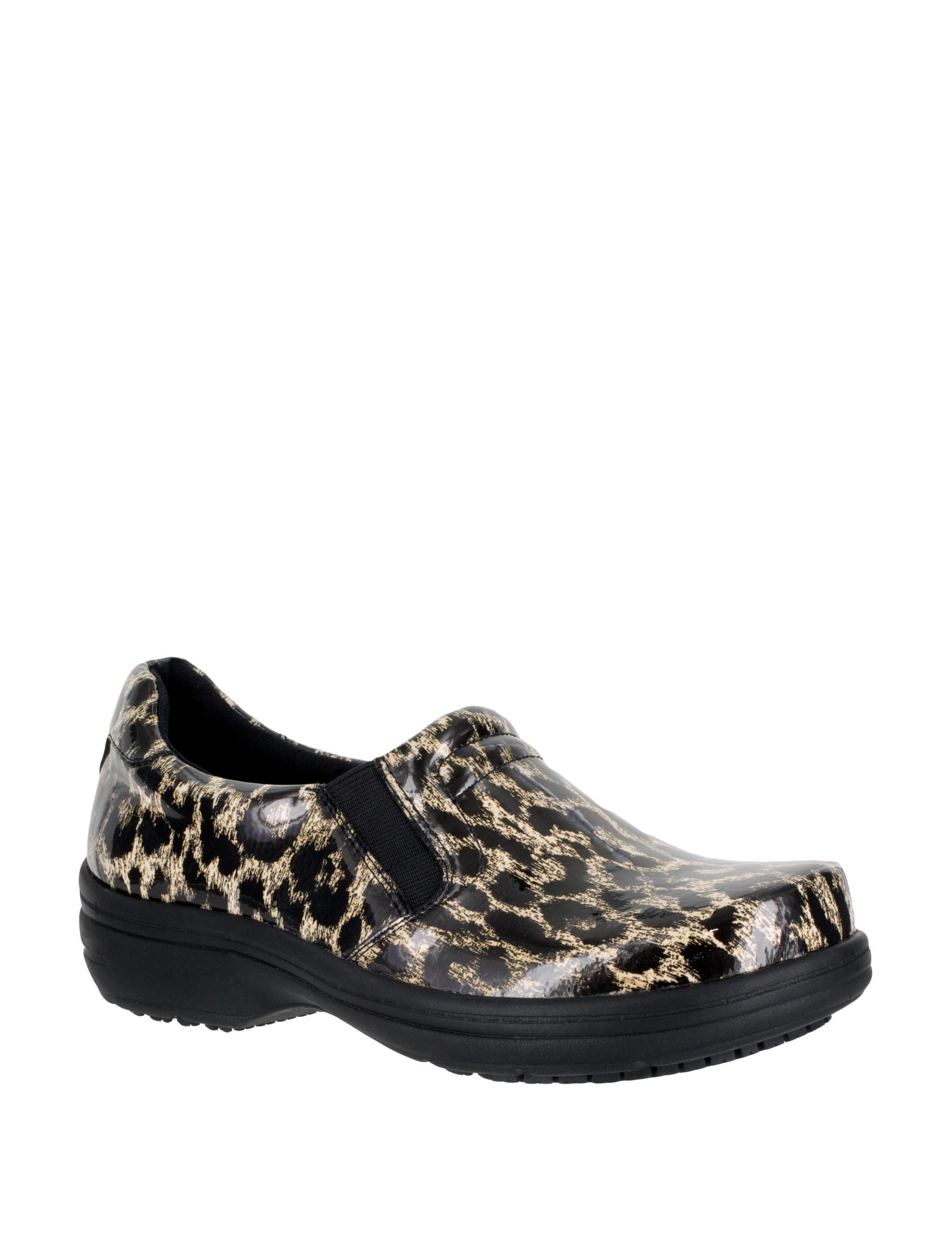 Easy Works by Easy Street Leopard Clogs Slip Resistant