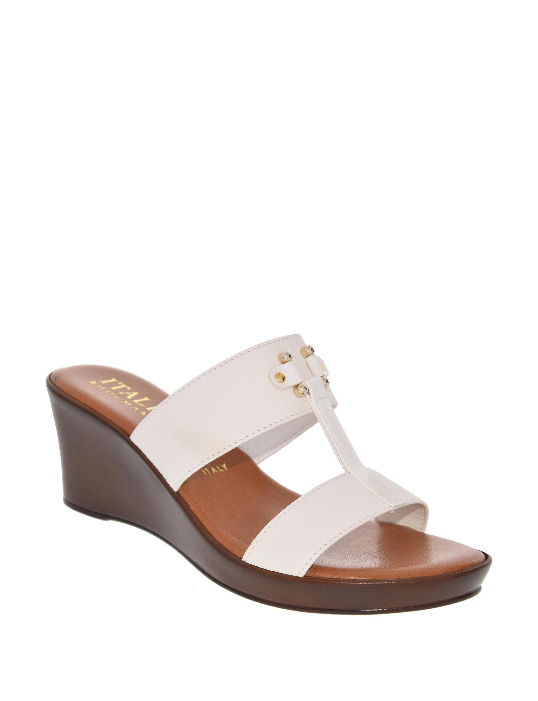 Italian Shoemakers White Wedge Sandals Comfort