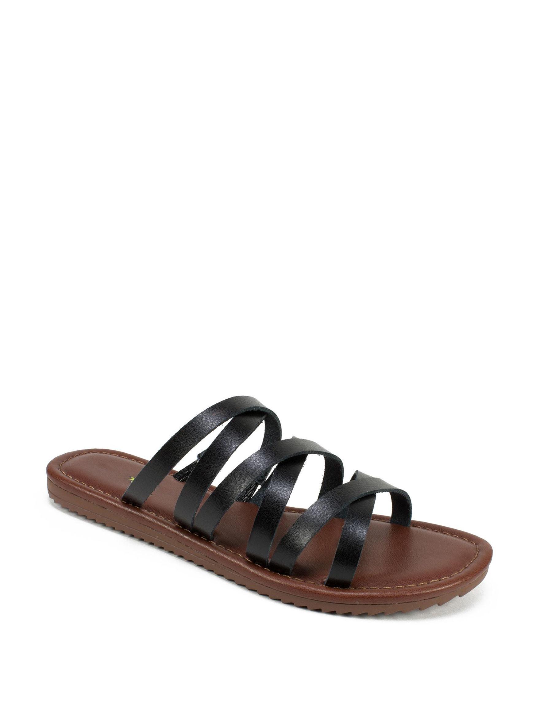 Seven Dials Black Flat Sandals