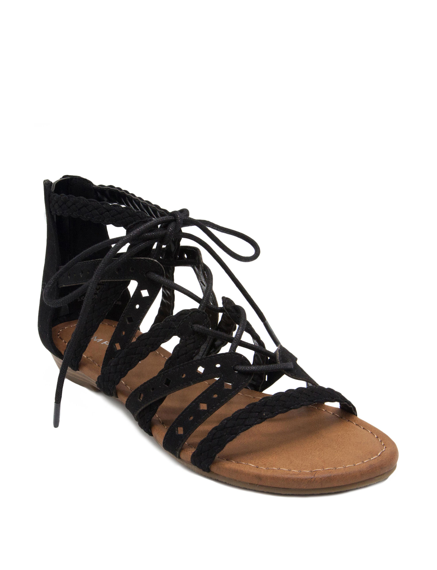 Rampage Black Flat Sandals Gladiators