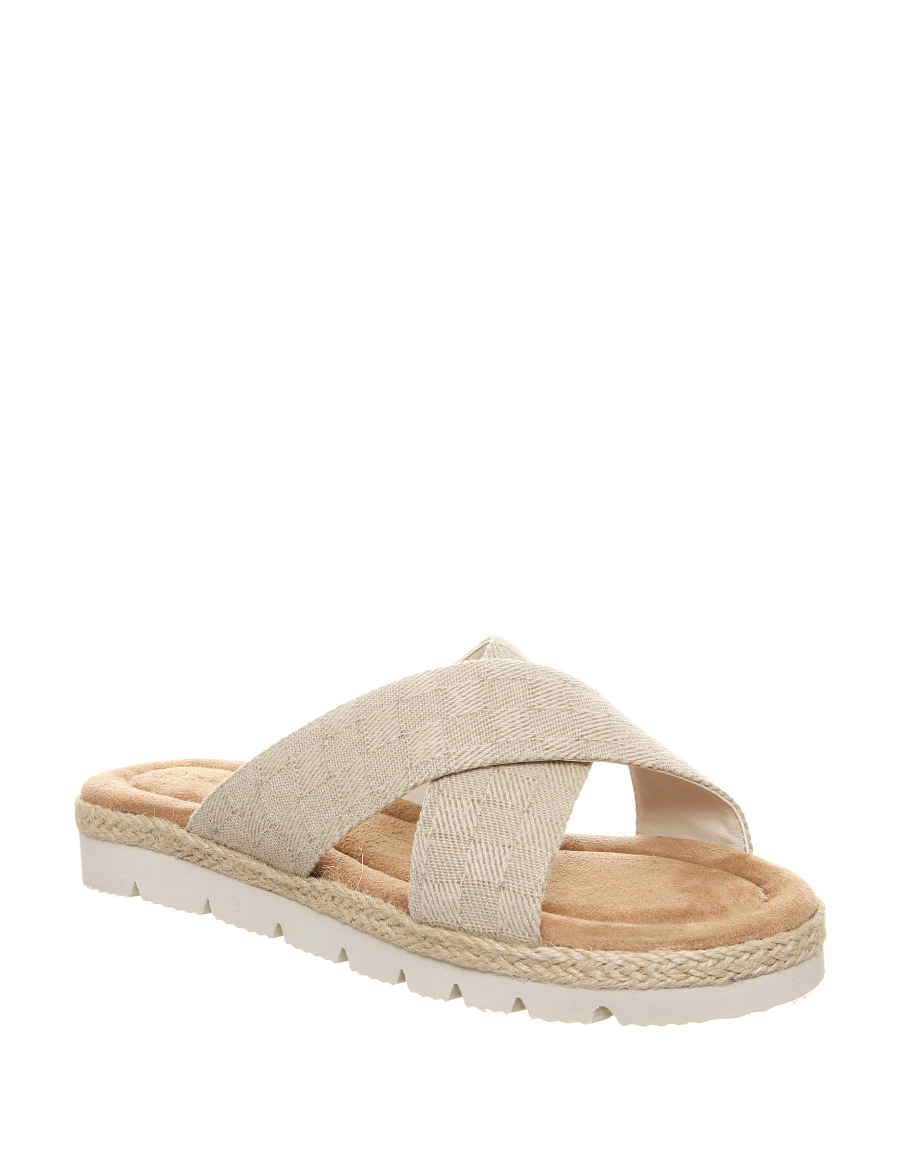 Bearpaw Natural Flat Sandals Slide Sandals