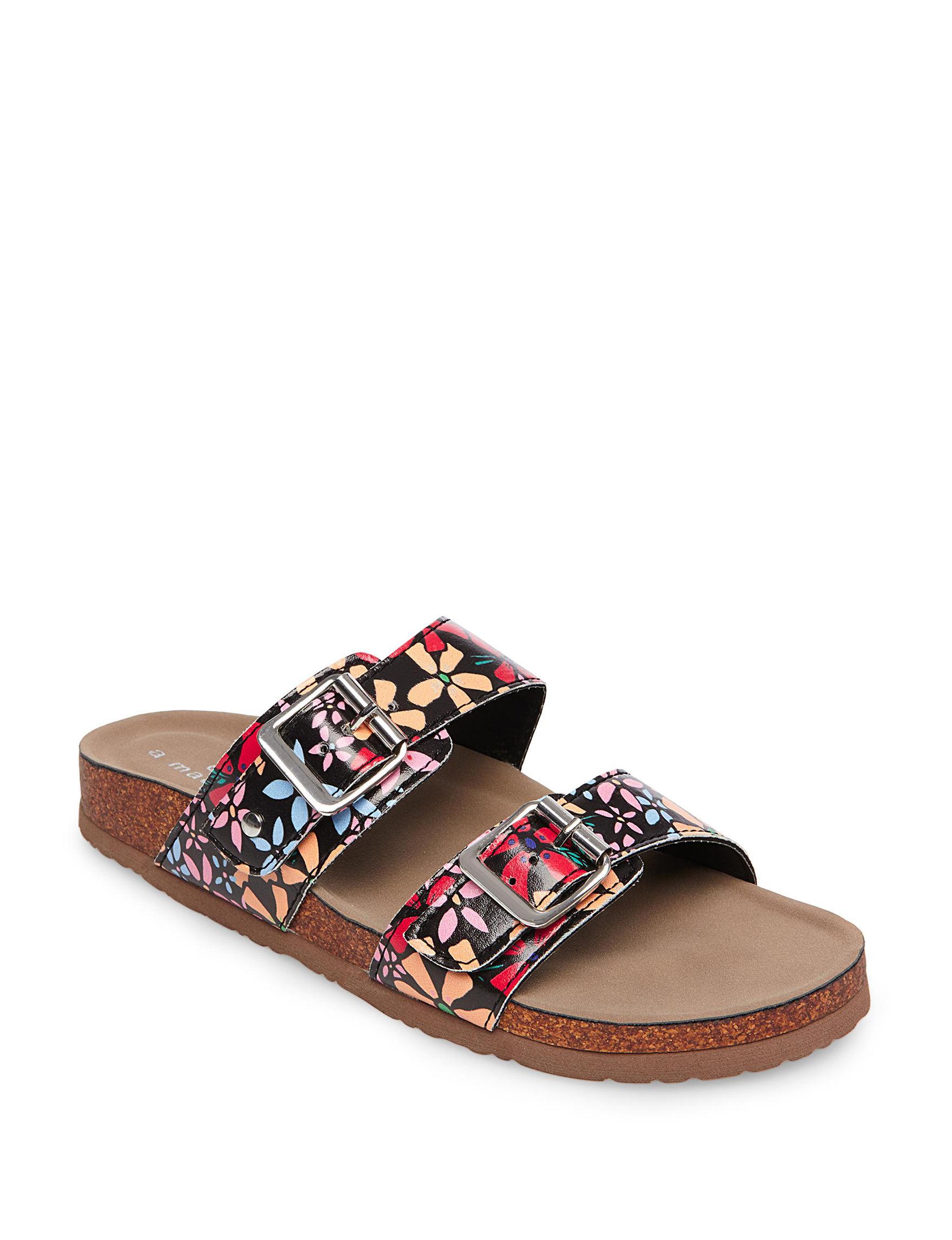 Madden Girl Black Multi Flat Sandals Slide Sandals