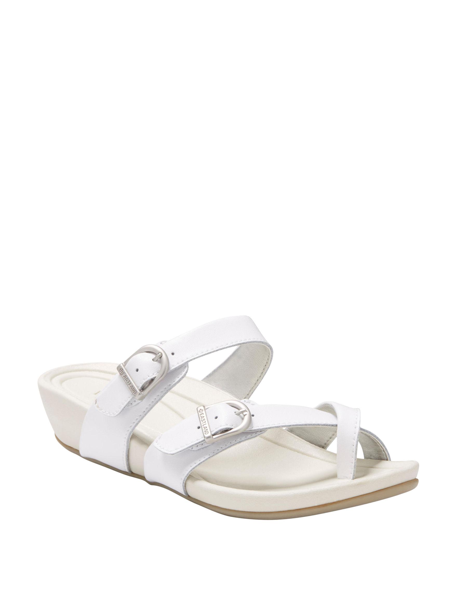 Eastland White Wedge Sandals
