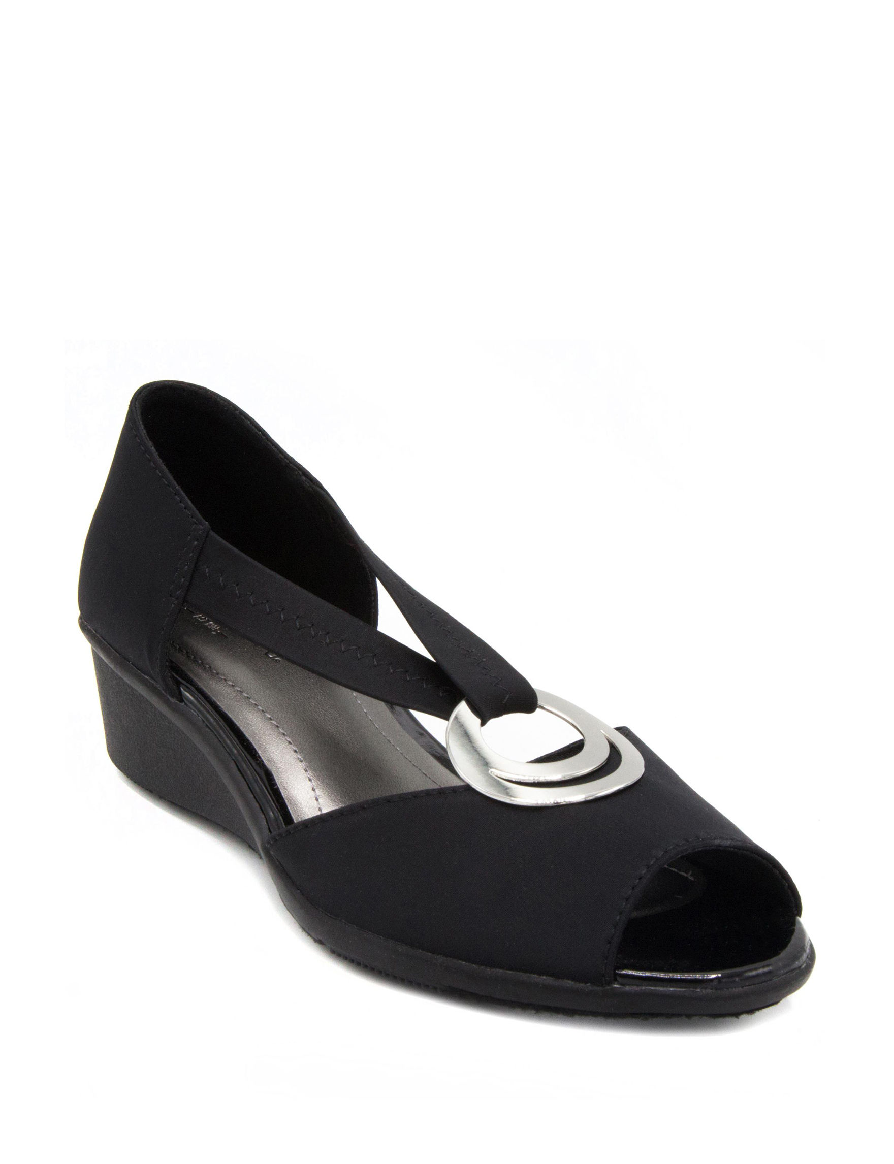 London Fog Black Wedge Sandals Comfort
