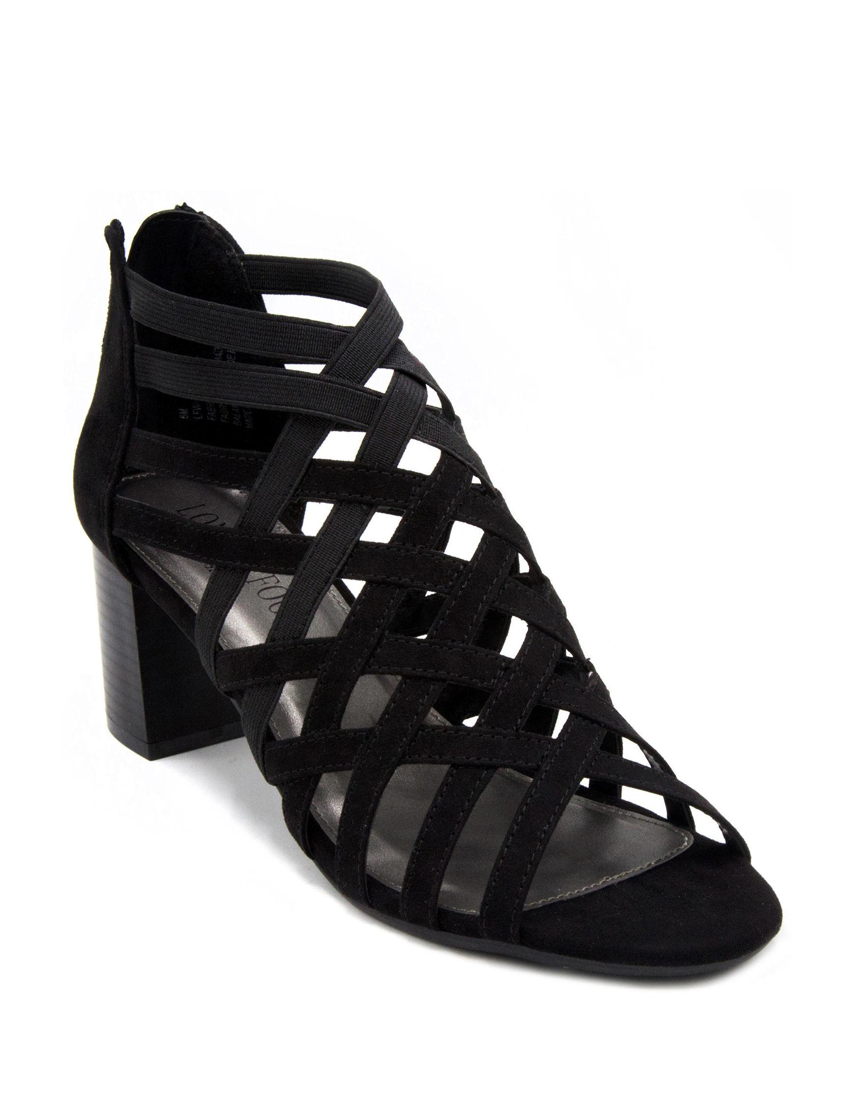 London Fog Black Heeled Sandals
