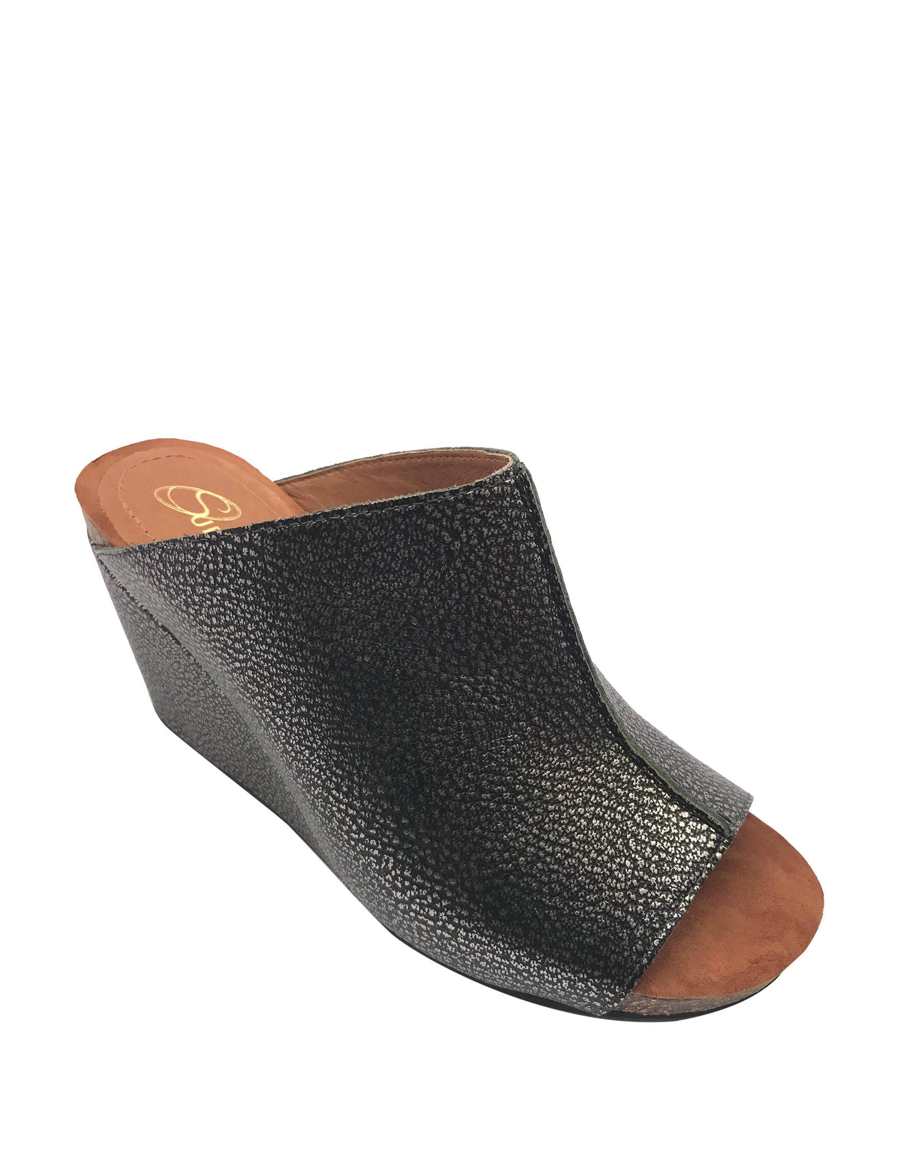 Sudini Pewter Wedge Sandals